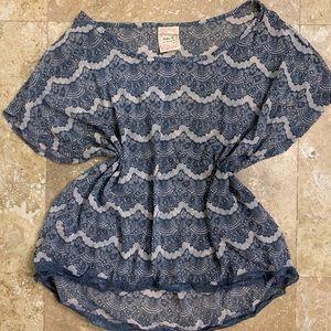 Robin K™ Blue Detailed Print Silk Blouse Top